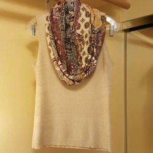 Chicos sleeveless shirt and matching Chicos scarf
